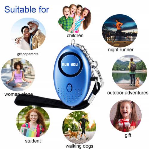 4 PACK Personal Alarm keychain for WOMEN//KIDS siren 140 DB LOUD /& LED light