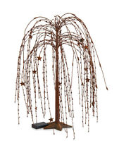 24 Led Burgundy And Cream Star Weeping Willow Tree Light W/ Star Base