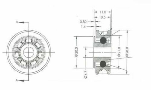 28mm Glashaus Ersatz Schiebetür Rad Set