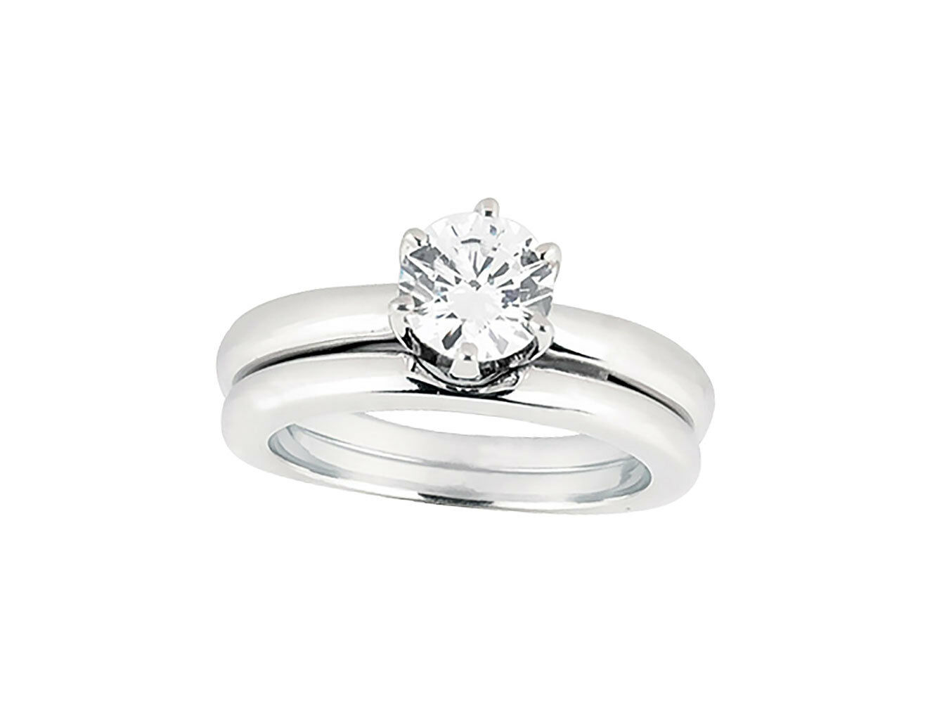 Natural 0.50Ct Round Diamond Solitaire Bridal Engagement Ring Set 10k gold L I2