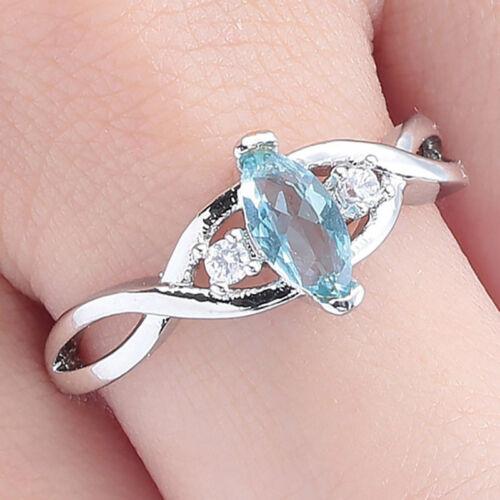 Elegante Anillo con gema azul cruzados Circón romántico para Mujeres Regalo de Compromiso G