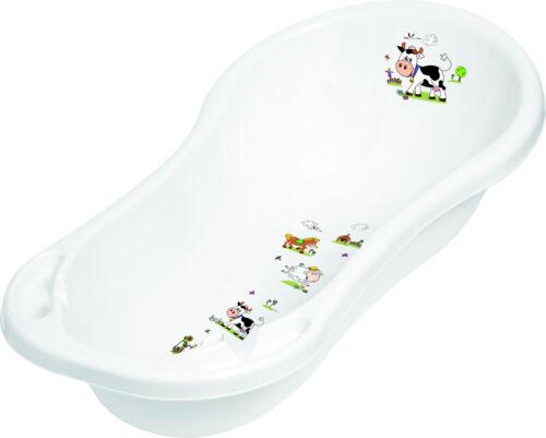 Baby Bath Tub XXL 100 cm Funny Farm White with Plugs Baby Bath Tub Tub