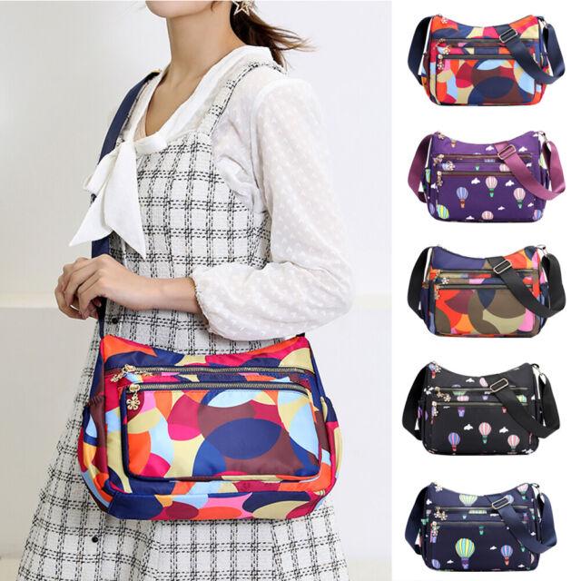 Women Shoulder Crossbody Bags Nylon Colorful Print Messenger Satchel Bag Pocket