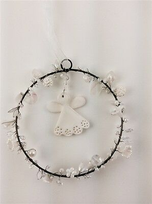 Crystal Beaded Ring with Clay Angel Christmas Hanger / Hanging Decoration * Xmas