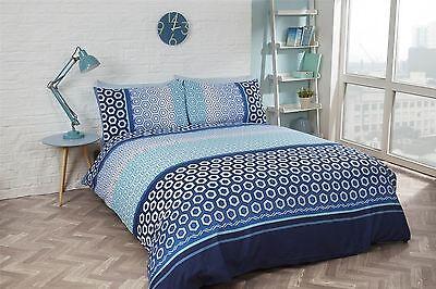 Bettwäschegarnituren Qualifiziert Hexagonal Gebändert Streifen Blau Weiss Baumwollmischung Doppelbett Bettwäsche