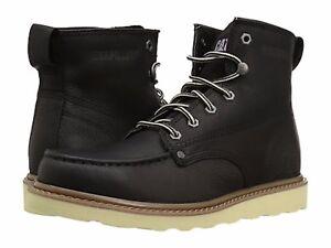 Details About Caterpillar Glenrock Mid Black Mens Moc Toe Work Boots Lightweight