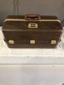 Vintage RARE Umco 1000-W Tackle Box Wood Grain BIG Fishing 7 Trays Water