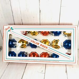 18-Glass-Ornaments-1-3-4-Diameter-Vintage-Holly-Brand-Value-Pack-Box-Made-In-uSA