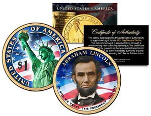 ABRAHAM-LINCOLN-2010-Presidential-1-Golden-Dollar-U-S-Coin-COLORIZED-2-Sided