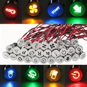 16mm-12V-Spia-Led-Luce-Metallo-Simbol-Auto-Lampade-Indicatore-Cruscotto-Pannello
