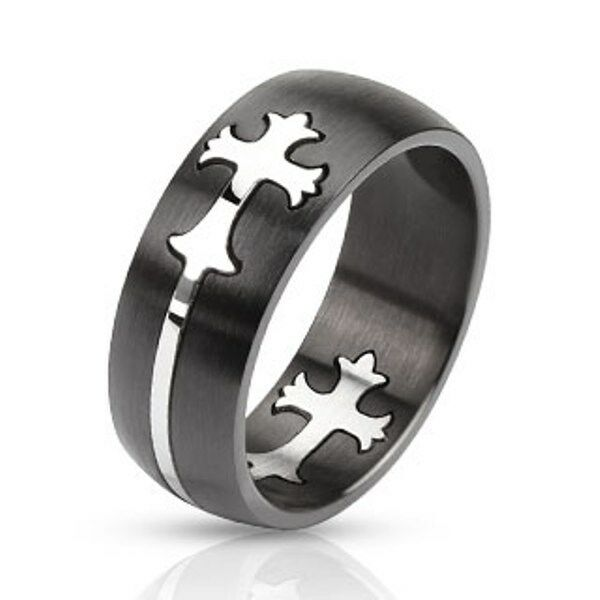 316L Stainless Steel Black IP Polished Cut-Out Cross Inlay Band Ring, Sizes 9-14