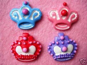 20 Cute Princess Crown Resin Flatback Button//bow//Craft//Pink//Girl//decoration B122