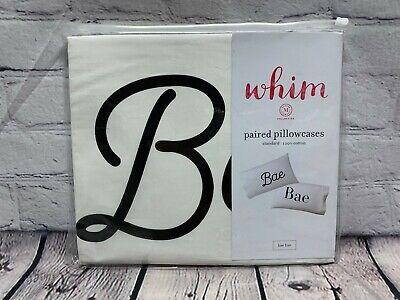 NEW Whim by Martha Stewart Pillowcase Pair Standard Size Bae Bae White Black