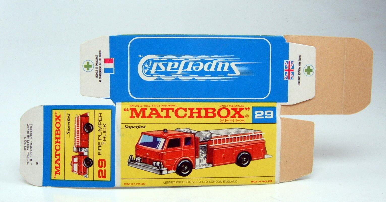 Matchbox Superfast No.29A Fire Pumper camión caja original de forma prematura  G  desplegada