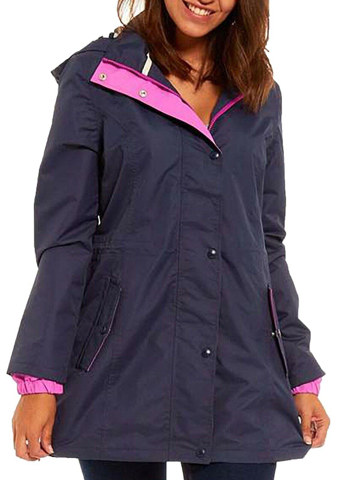 Women's New Navy Blue Parker Rain Coat Waterproof Windproof Jacket Ladies