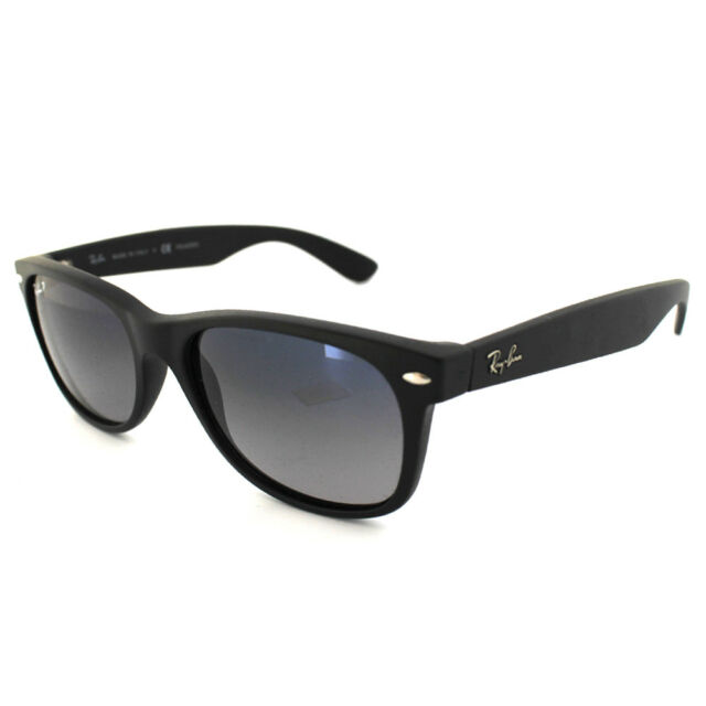 7b5d530bb46 Ray-Ban Sunglasses New Wayfarer 2132 601S78 Matt Black Grey Blue Polarized  Small