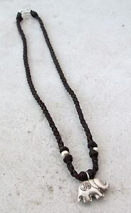 NiCe!! Hmong Hill Tribe Silver & Hemp Elephant Amulet Necklace Handmade