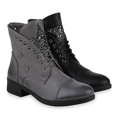 Damen Stiefeletten Schnürstiefeletten Glitzer Stern Boots Schnürer 832258 Schuhe