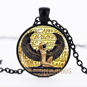Égyptien l/'Égypte ancienne photo dôme en verre noir chaîne collier pendentif en gros
