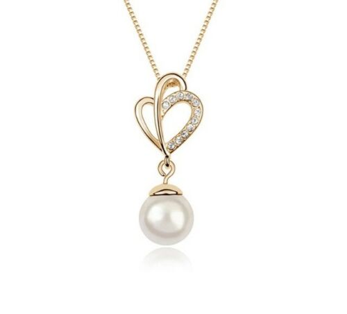 Gold Faux Pearl Heart Pendant Necklace and Earring set