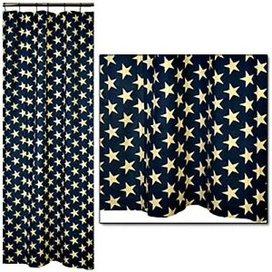 Image Is Loading New Primitive Americana NAVY BLUE STAR Fabric Shower