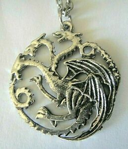 Game-of-Thrones-Targaryen-Dragon-Pewter-Pendant-with-18-034-chain-New
