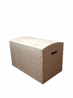 Large Pirate Chest Untreated Wooden Kids Bedroom Box Trunk Storage Toys