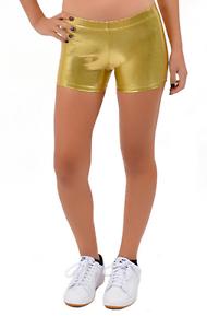9fc3bb3c78349c Image is loading Mystique-Metallic -Fabric-Booty-Shorts-Dance-Cheer-Gymnastics-