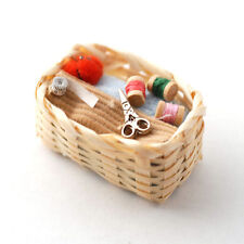 Sewing Basket with Accessories, Dolls House Miniature Sewing Room 1/12 Scale