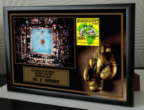 "Muhammed Ali George Foreman framed Canvas "" Rumble in the Jungle "" tribute"