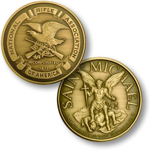 Saint Michael NRA Challenge Coin Gun Firearm Owner Rights 2nd Amendment Seal