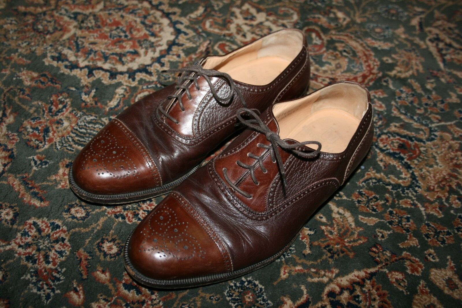 BRUNO MAGLI Charles Brown Calfskin Leather Brogue Cap Toe Dress shoes 8 M