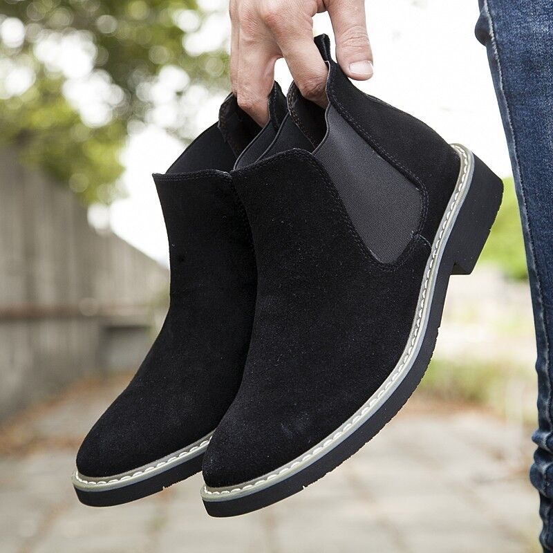 Mens Suede Ankle Boots Desert Pull On Casual Flat shoes Chelsea Boots Chukka EUR