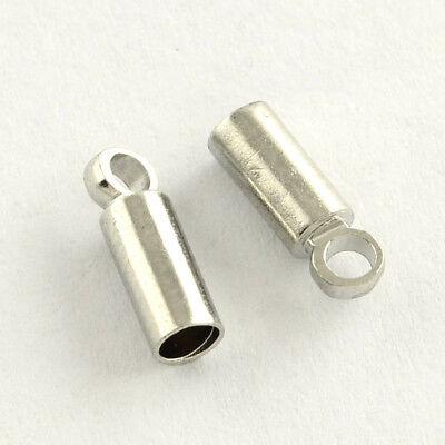 Lot de 30 Embouts à coller Argenté et or  pour Cordon 9x3 trou 1,5mm