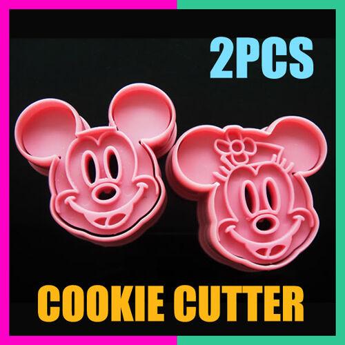 2pcs Mickey/Minnie Fondant Cake Cookie Decorating Sugarcraft Mold Plunger Cutter