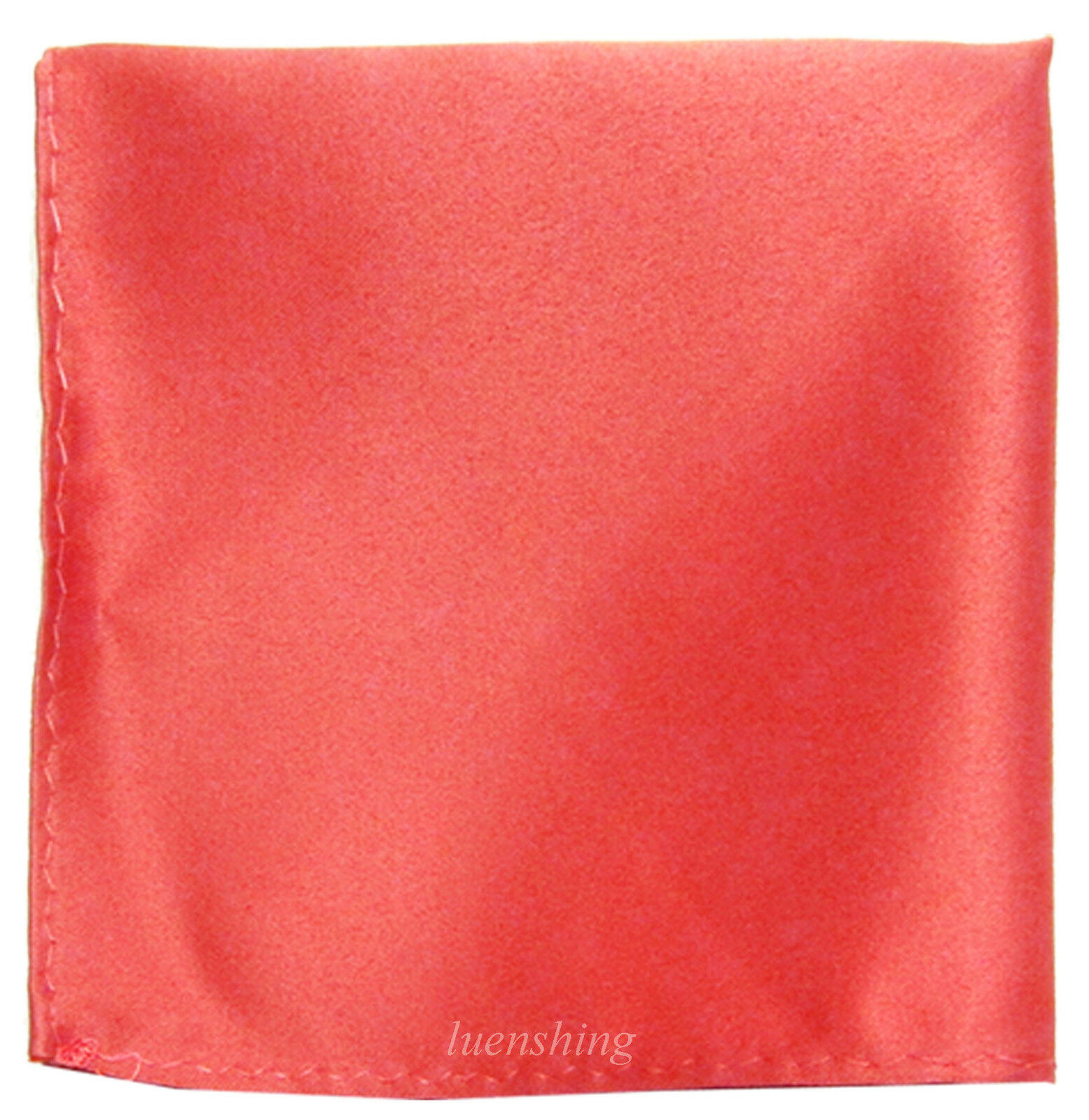 New formal Brand Q satin polyester pocket square hankie only Coral prom