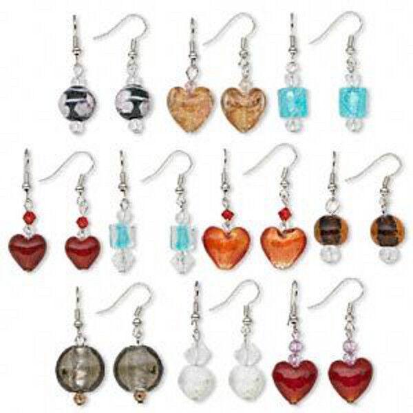Wholesale 10 Pairs Mix Press & Lampwork Glass Earrings