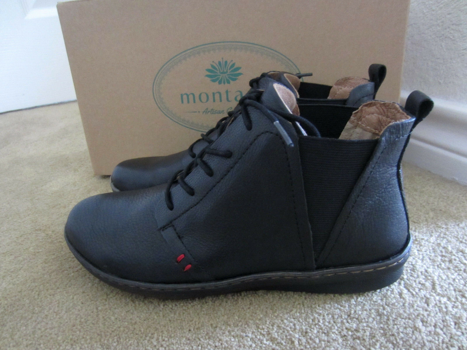 Montana Artisan Crafted Women's Black Leather Leather Leather Ankle Boots NIB Size 7M  100 e1ebed