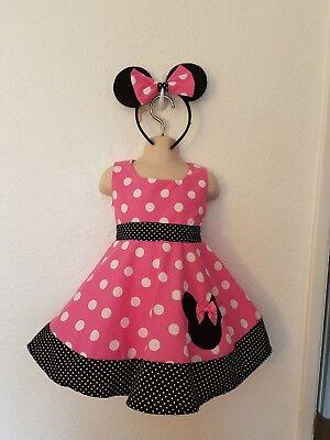 # 8 Custom Handmade Disney Pink Polka Dot Sleeveles Minnie Mouse Dress sz 6mo-5Y