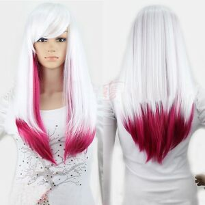 new white rose red ita ombre wig lady long straight