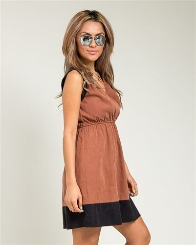 Dress Coffee Brown and Black Faux Suede size Medium