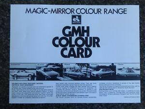 HOLDEN 1972 HQ ''COLOUR CHART'' BROCHURE 100% GUARANTEE.