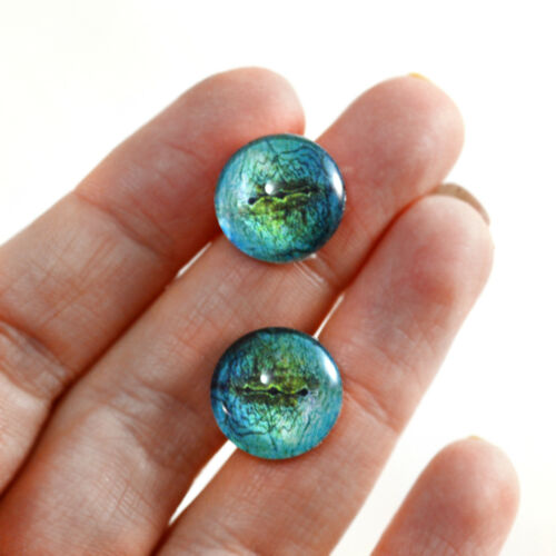 14mm Blue Lizard Glass Reptile Doll Eyes Sculptures Jewelry Making Taxidermy