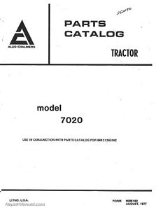 Details about Allis Chalmers 7020 Diesel Tractor Parts Manual