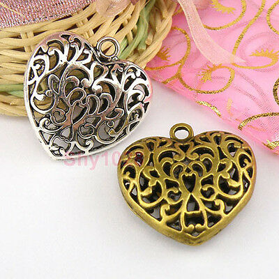3Pc Tibetan Silver,Bronze 3D Hollow Filigree Heart Charm Pendants 35mm M1602