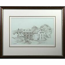 Incorniciato ORIGINALE farningham Mill Kent PENNA INCHIOSTRO schizzo del disegno firmato letchford
