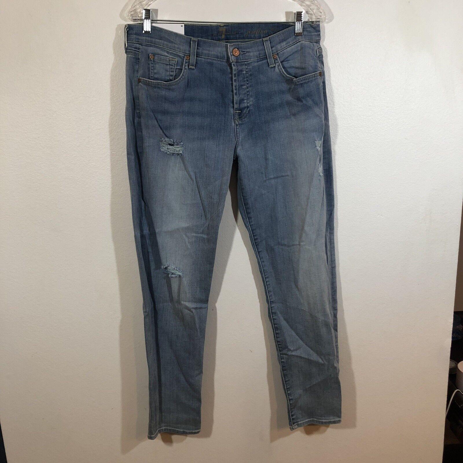 Seven 7 For All Mankind Women' Josefina Skinny Boyfriend Jeans bluee SZ 30 Distre