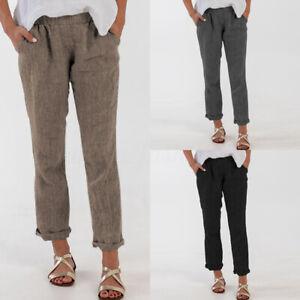 ZANZEA-Femme-Pantalon-Taille-elastique-Couleur-Unie-Longue-Droit-Loose-Plus