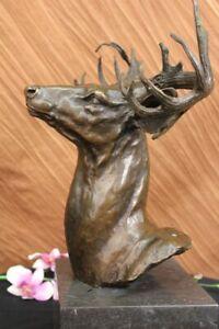 Stunning-Large-Antiqued-Bronze-Stag-Head-Desk-Top-Statue-Ornament-Sculpture-Deal