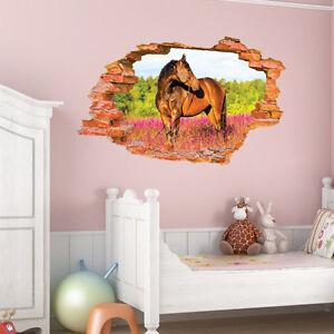 3D Design Wandtattoo Pferd Pony Kinderzimmer Mädchen Wanddurchbruch ...